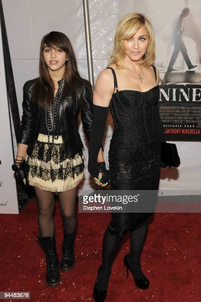 Singer Madonna RL and daughter Lourdes Leon attend the New York premiere of NINE at the Ziegfeld Theatre on December 15 2009 in New York City