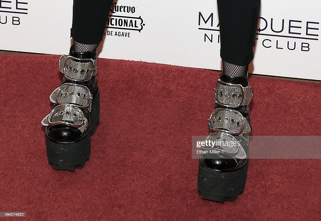 Singer Madonna, shoes detail, arrives at the Marquee Nightclub at The Cosmopolitan of Las Vegas to host an after party for her Rebel Heart Tour concert stop on October 25, 2015 in Las Vegas, Nevada.