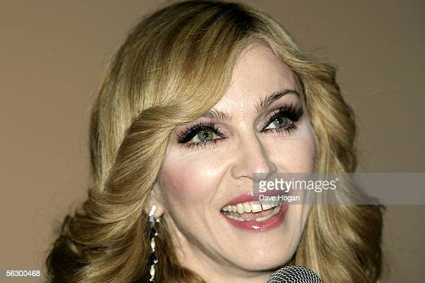 """Singer Madonna speaks at the UK television documentary premiere of her new confessional Channel 4 documentary, """"I'm Going To Tell You A Secret"""" at..."""