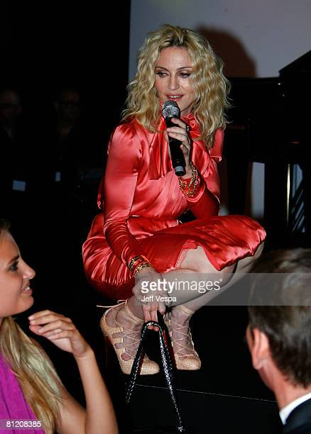 Singer Madonna speaks during amfAR's Cinema Against AIDS 2008 auction held at Le Moulin de Mougins during the 61st International Cannes Film Festival...