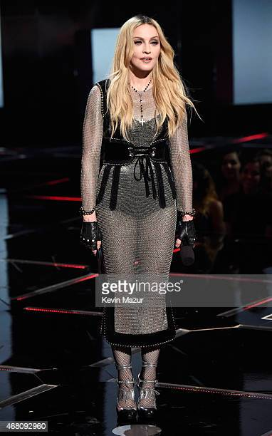 Singer Madonna speaks onstage during the 2015 iHeartRadio Music Awards which broadcasted live on NBC from The Shrine Auditorium on March 29 2015 in...