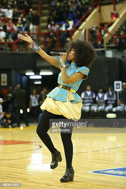 Singer Mafikizolo performs halftime in the game of Team World against Team Africa during the NBA Africa Game 2015 as part of Basketball Without...