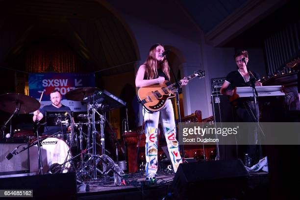 Singer Maggie Rogers performs onstage at St Davids Historic Sanctuary on March 17 2017 in Austin Texas