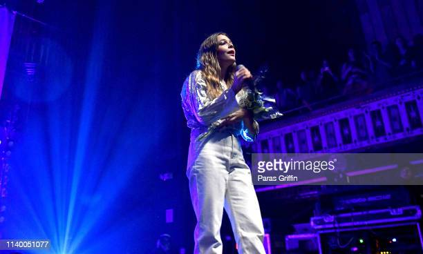 Singer Maggie Rogers performs onstage during her Heard It in a Past Life Tour at The Tabernacle on April 02 2019 in Atlanta Georgia