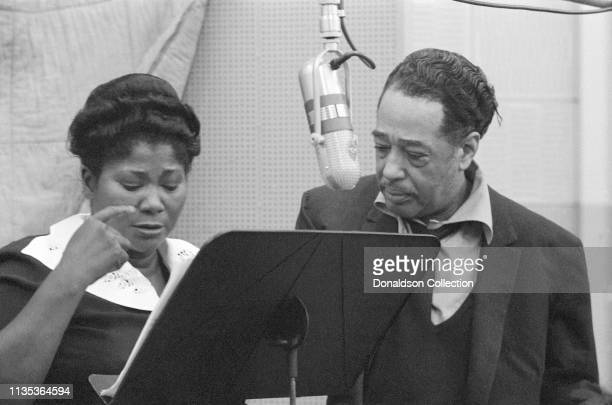 Singer Mahalia Jackson and composer and bandleader Duke Ellington in the Columbia Records studio recording the album 'Black Brown and Beige' in...