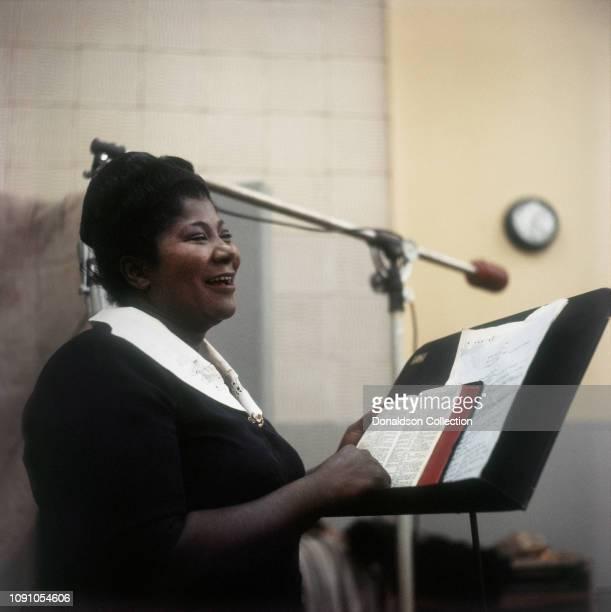 Singer Mahalia Jackson in the Columbia Records studio recording the Duke Ellington album 'Black Brown and Beige' in February 1958 in Los Angeles...