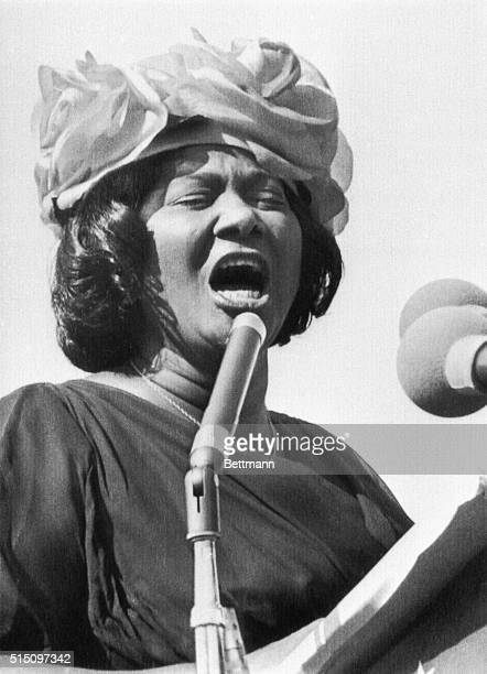 Singer Mahalia Jackson speaking at the Illinois Rally for Civil Rights at Soldier Field in Chicago, Illinois. Over 70,000 persons attended the rally.