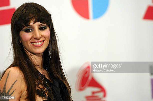 Singer Mala Rodriguez poses in the press room during the 8th annual latin GRAMMY awards held at the Mandalay Bay Events Center on November 8, 2007 in...
