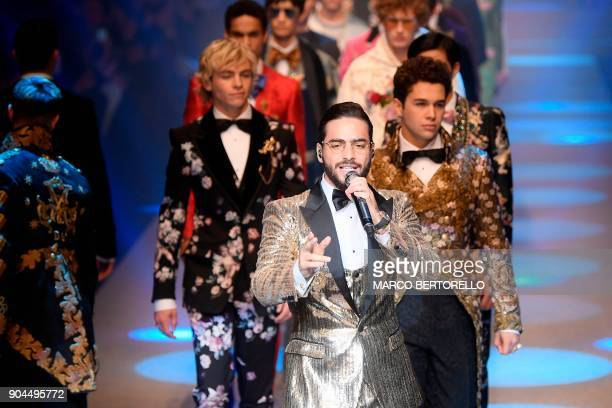Singer Maluma performs at the show for fashion house Dolce Gabbana during the Men's Fall/Winter 2019 fashion shows in Milan on January 13 2018 / AFP...