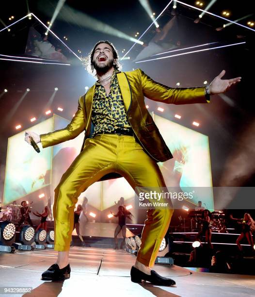 Singer Maluma performs during his 'FAME Tour' at The Forum on April 7 2018 in Inglewood California