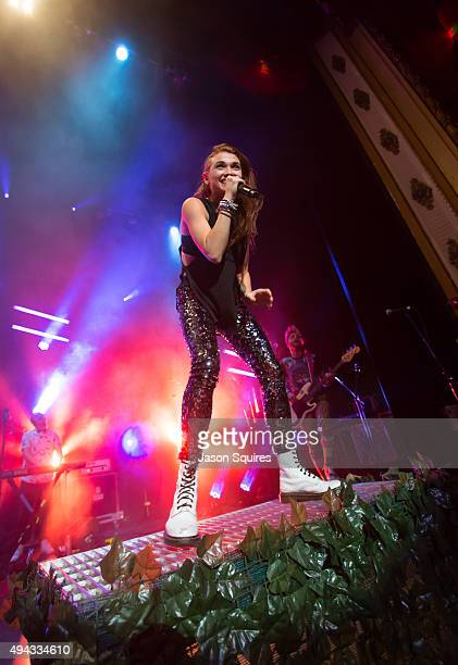 Singer Mandy Lee of Misterwives performs at Arvest Bank Theatre at The Midland on October 25 2015 in Kansas City Missouri