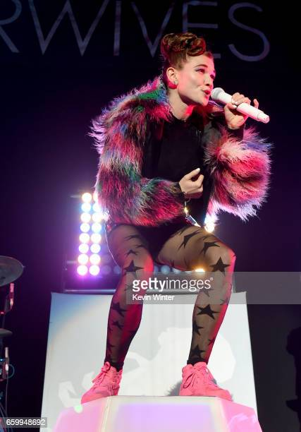 Singer Mandy Lee of MisterWives performs at The Forum on March 28 2017 in Inglewood California