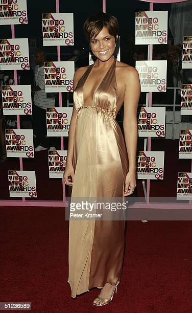 Singer Mandy Moore arrives at the 2004 MTV Video Music Awards at the American Airlines Arena August 29 2004 in Miami Florida