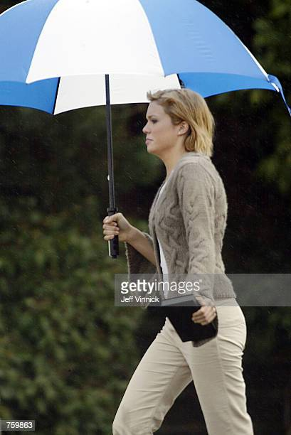 Singer Mandy Moore walks out of her trailer on the set of Try Seventeen March 27 2002 in Vancouver British Columbia