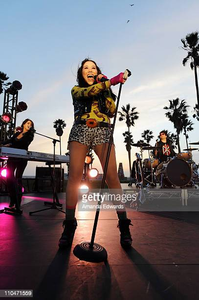 Singer Manika performs on the set of her 'Just Can't Let You Go' music video shoot on March 18 2011 in Venice California