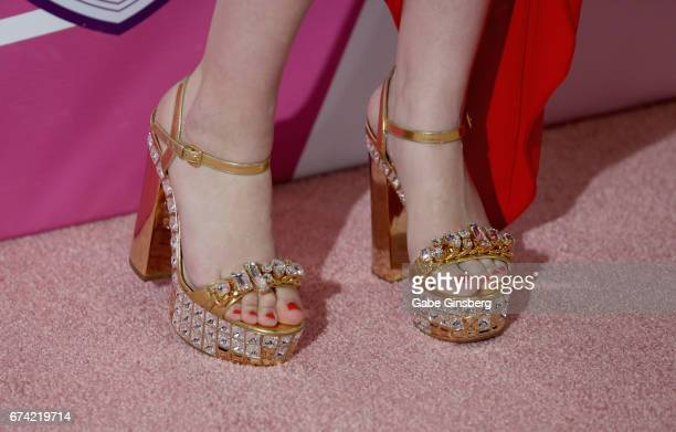 "Singer Manika Ward, shoes detail, attends Keep Memory Alive's 21st annual ""Power of Love Gala"" benefit for the Cleveland Clinic Lou Ruvo Center for..."