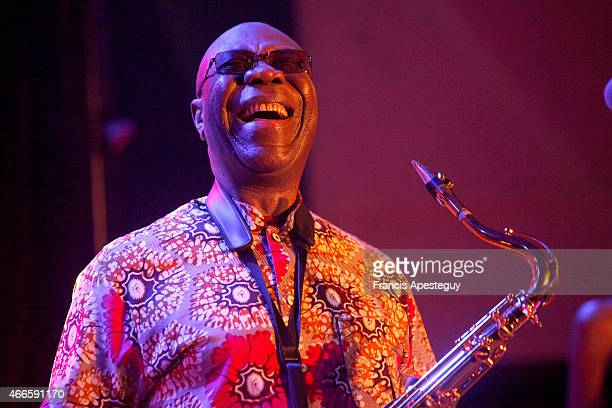 Singer Manu Dibango performs on stage on March 14, 2015 in Ezy-sur-Eure, France.