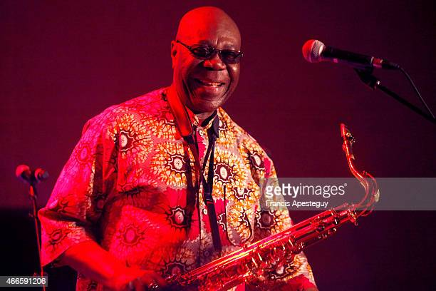 Singer Manu Dibango performs on stage on March 14 2015 in EzysurEure France