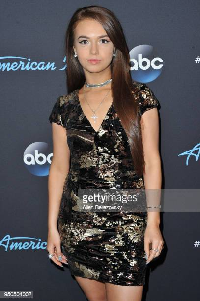 Singer Mara Justine arrives at ABC's 'American Idol' show on April 23 2018 in Los Angeles California