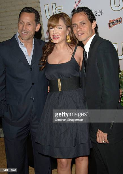 Singer Marc Anthony actor Leah Remini and her husband Angelo Pagen attend the Us Hollywood 2007 Party at Sugar on April 26 2007 in Hollywood...