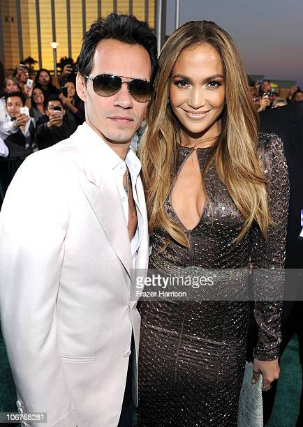 Singer Marc Anthony and actress Jennifer Lopez arrive at the 11th annual Latin GRAMMY Awards at the Mandalay Bay Resort Casino on November 11 2010 in...