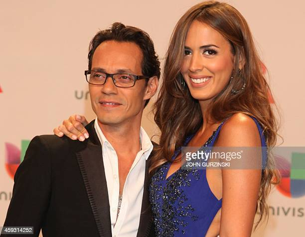 Singer Marc Anthony and his wife model Shannon De Lima arrive for the 15th Annual Latin Grammy Awards on November 20 in Las Vegas Nevada AFP...
