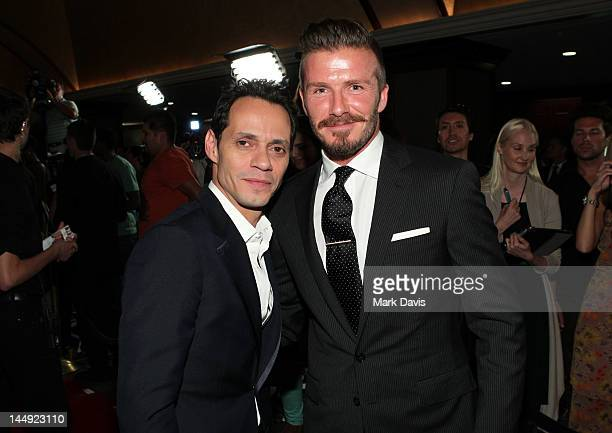Singer Marc Anthony and professional soccer player David Beckham arrive at the 27th Anniversary Sports Spectacular benefiting CedarsSinai Medical...
