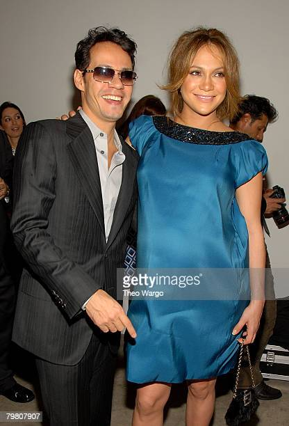 Singer Marc Anthony and singer/actress Jennifer Lopez attend Marchesa Fall 2008 during MercedesBenz Fashion Week at Chelsea Art Museum on February 6...
