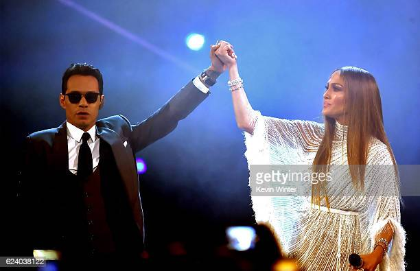 Singer Marc Anthony and singer/actress Jennifer Lopez perform onstage during The 17th Annual Latin Grammy Awards at TMobile Arena on November 17 2016...