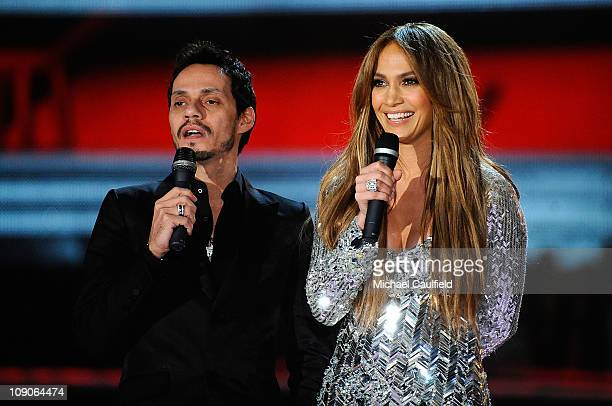 Singer Marc Anthony and singerTV personality Jennifer Lopez speak onstage during The 53rd Annual GRAMMY Awards held at Staples Center on February 13...