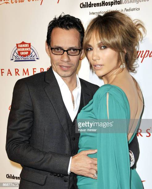 """Singer Marc Anthony and wife actress Jennifer Lopez arrive at the """"Noche de Ninos Gala"""" benefiting Childrens Hospital of Los Angeles at the Beverly..."""