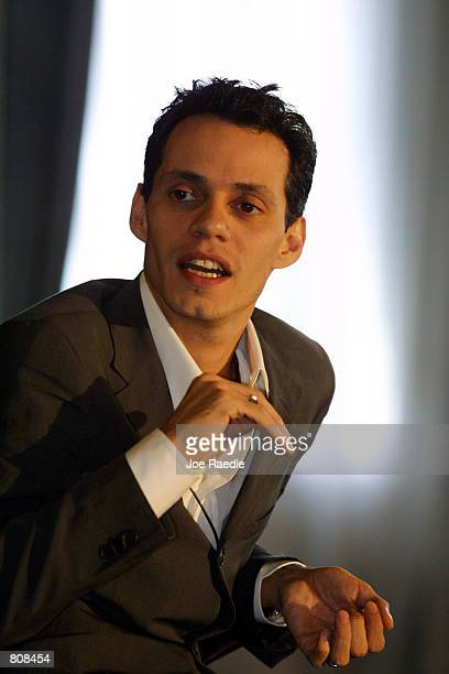 Singer Marc Anthony answers questions during an interview at the 12th Annual Billboard Latin Music Conference Awards April 25 2001 in Miami Beach...