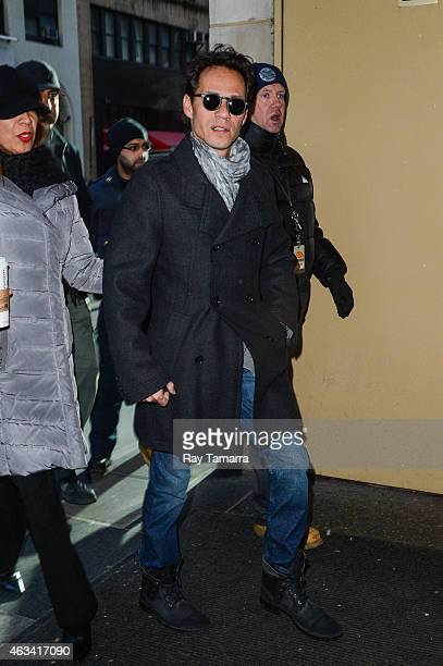 Singer Marc Anthony enters the 'Today Show' taping at the NBC Rockefeller Center Studios on February 13 2015 in New York City