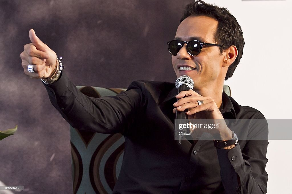 Singer Marc Anthony gestures during a press conference to present his new show at Auditorio Nacional on October 21, 2013 in Mexico City, Mexico.