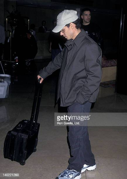 Singer Marc Anthony on March 2 2000 checks in at the Beverly Hilton Hotel in Beverly Hills California