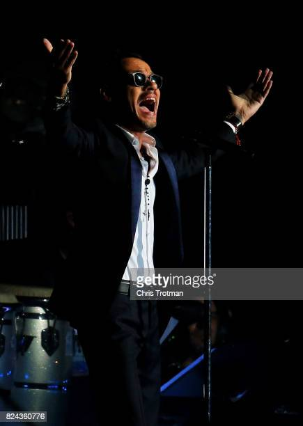 Singer Marc Anthony performs at half time during the International Champions Cup 2017 match between Real Madrid and Barcelona at Hard Rock Stadium on...