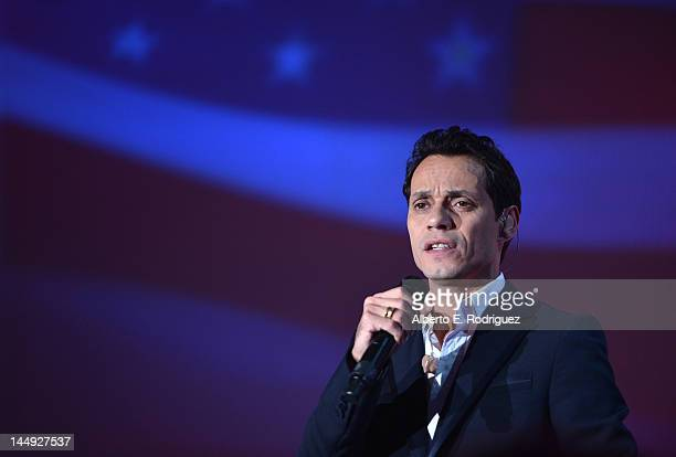 Singer Marc Anthony performs at the 27th Anniversary Sports Spectacular benefiting CedarsSinai Medical Genetics Institute at the Hyatt Regency...