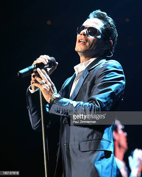 Singer Marc Anthony performs at the Izod Center on August 10 2012 in East Rutherford New Jersey