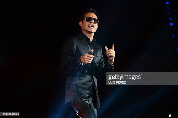 US singer Marc Anthony performs during a concert in Merida Yucatan State on May 13 2014 Marc Anthony is in Mexico for a series of concert AFP...