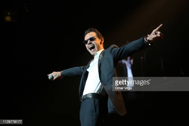 Singer Marc Anthony performs during his 'Legacy Tour' at American Airlines Center on February 14 2019 in Dallas Texas