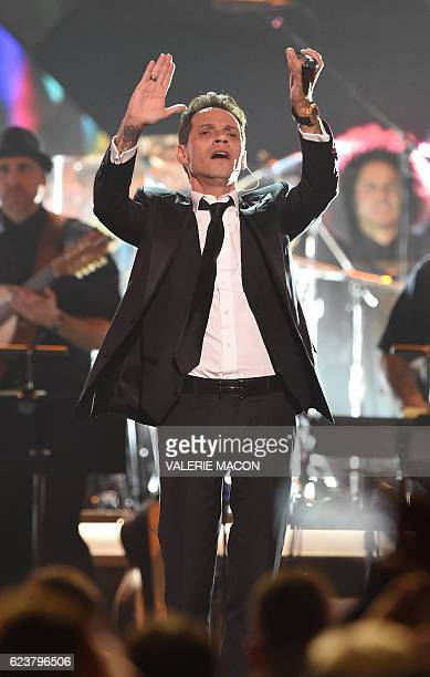 Singer Marc Anthony performs during the show for the 2016 Latin GRAMMY's Person Of The Year honoring Marc Anthony at the MGM Grand on November 16...