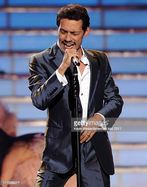 Singer Marc Anthony performs onstage during Fox's 'American Idol 2011' finale results show held at Nokia Theatre LA Live on May 25 2011 in Los...