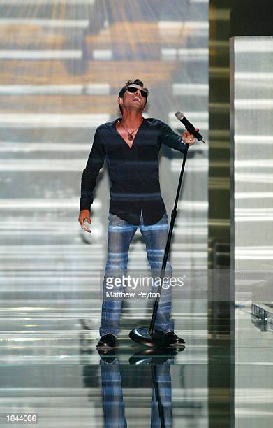 Singer Marc Anthony performsat the Victoria Secret Fashion Show at the Lexington Avenue Armory November 14 2002 in New York City New York