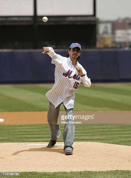 Singer Marc Anthony throws out the first pitch before a subway series game between the New York Mets and the New York Yankees at Shea Stadium in...