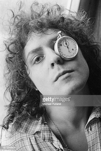 Singer Marc Bolan of British glam rock group TRex poses with a stopwatch over one eye at the Chateau d'Herouville recording studio France 23rd...