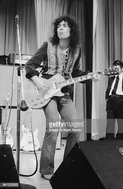 Singer Marc Bolan of English glam rock group TRex on stage during a US tour 1971