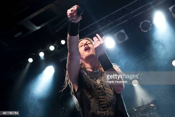 Singer Marc Hudson of the British band DragonForce performs live in support of Epica during a concert at the CClub on January 17 2015 in Berlin...