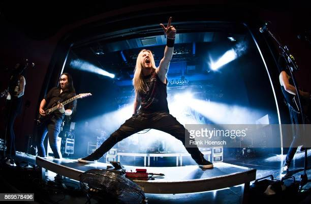 Singer Marc Hudson of the British band DragonForce performs live on stage during a concert at the Columbia Theater on November 2 2017 in Berlin...