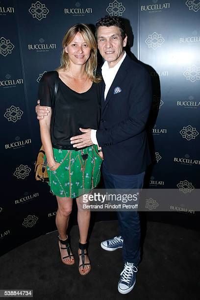Singer Marc Lavoine and his wife Sarah attend the Opening of the Boutique Buccellati situated 1 Rue De La Paix in Paris on June 8 2016 in Paris France