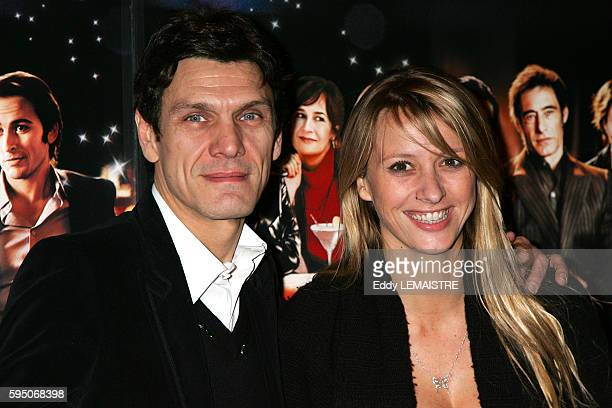 Singer Marc Lavoine and his wife Sarah Poniatowski attend the premiere of 'Le Heros de la famille' in Paris